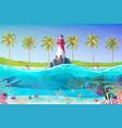 cartoon lighthouse sea clipart vector image