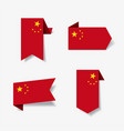chinese flag stickers and labels vector image vector image