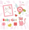Colorful collection of baby girl announcement vector image vector image