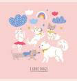 cute dog breeds clouds rainbows vector image