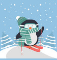 cute penguin skiing with tree background vector image