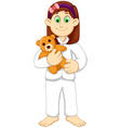 cute sleepy girl cartoon holding teddy bear vector image