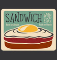 fast food sandwich retro poster vector image vector image