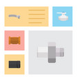 flat icon plumbing set of connector flange tube vector image vector image