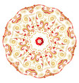 floral gold and red round ornament vector image vector image