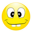 funny silly yellow smiley with big teeth on a vector image