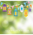 garlands with hanging colorful lanterns flags and vector image vector image