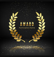 gold award emblem with falling confetti laurel vector image vector image
