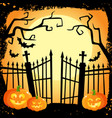 halloween banner - laughing pumpkins on cemetery vector image
