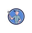 Handyman Holding Spanner Circle Cartoon vector image vector image