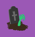 Headstone and zombie hands vector image
