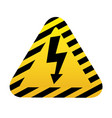 high voltage sign black arrow in yellow triangle vector image
