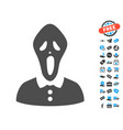 horror flat icon with free bonus elements vector image vector image