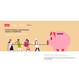 indian people team pulling rope piggy bank money vector image vector image
