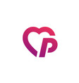 letter p heart logo icon design template elements vector image vector image