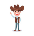 little boy wearing cowboy costume american vector image