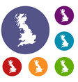 map of great britain icons set vector image vector image