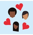 people with cartoon hearts image vector image