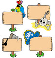 pirate wooden signs collection vector image vector image