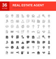 real estate agent line web glyph icons vector image