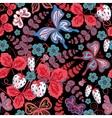 Seamless berries flowers and butterflies hand