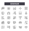 seminar line icons signs set linear vector image vector image