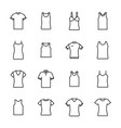 Set of different t-shirts from thin lines