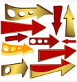 set of gold and red arrow icons vector image