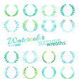 set of watercolour nature wreaths vector image vector image