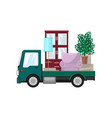 small truck is transporting furniture vector image vector image