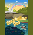 snorkeling poster vector image vector image