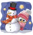 snowman and cute cartoon owl girl vector image vector image
