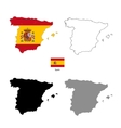 Spain country black silhouette and with flag on vector image vector image