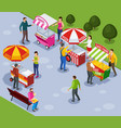 street vending isometric composition vector image vector image