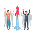 take-off rocket in startup happy and joyful men vector image
