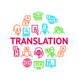 translation signs thin line line round design vector image vector image