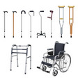 wheelchair cane crutch walkers set of special vector image