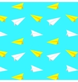 White and yellow paper planes pattern vector image vector image