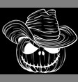 white silhouette pumpkin in witches hat on vector image