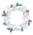 wreath of christmas balls fir twigs snow-flakes vector image vector image