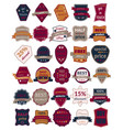set of thirty badges with ribbons vector image