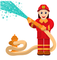 firefighter pours water vector image