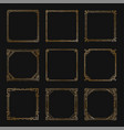 art deco square gold frames and borders set vector image vector image
