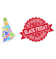 black friday composition of mosaic map of new vector image vector image