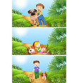 Boy and girl with pet dog vector image vector image