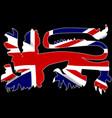 british lion silhouette on union jack flag vector image