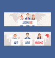 businessmen and women holding sign with text join vector image vector image