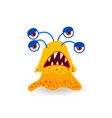 cartoon tired yellow four-eyed monster vector image