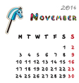 color horse calendar 2014 november vector image vector image