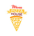 colorful logo for pizza house menu with ribbon and vector image